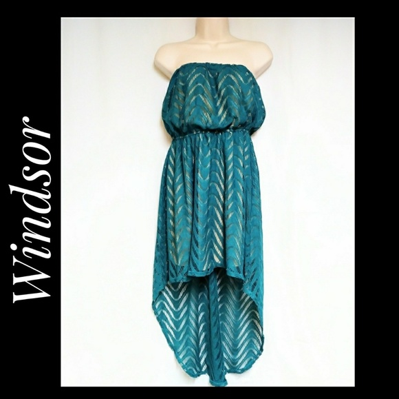 Windsor Dresses & Skirts - Windsir High Low Hem Strapless Dress Teal Size S